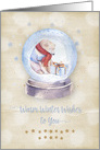 Merry Christmas Warm Winter Wishes Polar Bear Snow Globe card