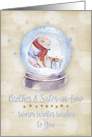 Merry Christmas Brother and Sister-in-Law Polar Bear Snow Globe card