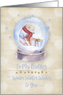 Merry Christmas to Brother Polar Bear Snow Globe Snowflakes card