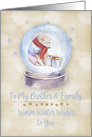 Merry Christmas to Brother and Family Polar Bear Snow Globe Snowflakes card