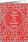 Happy Valentine's Day to Husband Lots of Hearts with Vine Wreath card