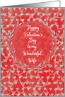 Happy Valentine's Day to Wife Lots of Hearts with Vine Wreath card