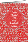 Happy Valentine's Day to Partner Lots of Hearts with Vine Wreath card