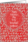Happy Valentine's Day to Girlfriend Lots of Hearts with Vine Wreath card