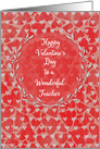 Happy Valentine's Day to Teacher Lots of Hearts with Vine Wreath card