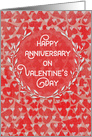 Happy Anniversary on Valentine's Day Lots of Hearts with Vine Wreath card