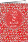 Happy Valentine's Day to Daughter Lots of Hearts with Vine Wreath card