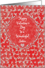 Happy Valentine's Day to Sister Lots of Hearts with Vine Wreath card
