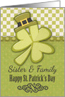 Happy St. Patrick's Day to Sister and Family Shamrock Wearing Hat card