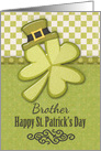 Happy St. Patrick's Day to Brother Shamrock Wearing Hat card