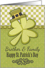 Happy St. Patrick's Day to Brother and Family Shamrock Wearing Hat card