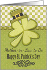 Happy St. Patrick's Day to Mother-in-Law to Be Shamrock Wearing Hat card
