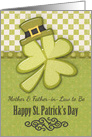 Happy St. Patrick's Day to Mother and Father-in-Law to Be Shamrock card