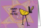 Happy Birthday Happy Day to You Bright and Bold Bird and Sun card