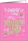 Thinking of You While You Are Away at Summer Camp Pink Camo Ladybugs card