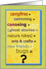 Summer Camp Humorous Math Problem Thinking of You card