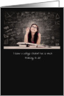Away at College Thinking of You Girl at Desk Thinking with Chalkboard card