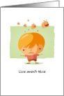 Get Well from Lice Unhappy Cartoon Boy and Jumping Lice card