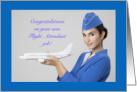 Congratualions New Job Flight Attendant Woman Holding Plane card