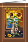Happy Birthday, painted Sunflowers card