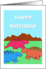 Happy Birthday, colored Dinosaurs card