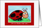Goofy cartoon Lady Bug, funny card