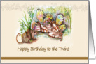 Fairies and Mouse, Birthday to Twins card