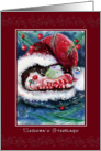 Seasons Greetings, Fairy in a Santa Hat card