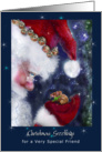 Santa and Mouse,Christmas Greetings for Friend card