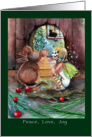 Cute Fairy and Mouse, Peace, love, joy, Christmas card
