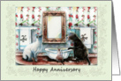 Happy Anniversary, Cats in the Powder Room card