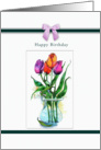 Painted Tulips, Happy Birthday card