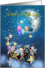 Faeries , Mystical Moon & Stars, Birthday card