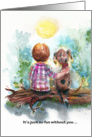 Kid and Dog on log, get well card