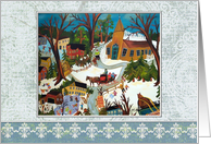 Prim Winter Snow Village in Wonderland Christmas card