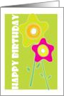 Happy Birthday, pink and green flowers card