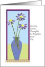 Thinking of You, bright flowers with vase card
