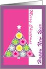 Christmas Tree, pink and Purple card