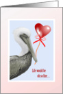 Pelican and Heart Balloon Valentine Greeting card