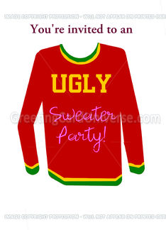 Ugly Sweater Party Invitation: Red, Yellow & Green. Customize me. Greeting Card
