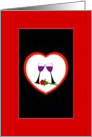 Happy Anniversary. Beautiful Toast to Love graphic Wine Glasses with Single Red Rose card
