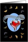 Butterfly Framed Scroll Heart. I Have Butterflies. Be My Valentine! card