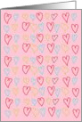 Valentine's Day, Hand Drawn Hearts in Red, Blue and Yellow on Pink Background card