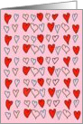 Hand Drawn Red and Blue Hearts on Pink Background. Be My Valentine? card