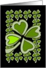 4 Leaf Clovers / Shamrocks for Luck. Blank. card