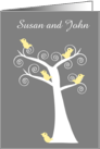 Five Yellow Birds in a Tree Customizable Wedding Invitation card