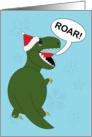 Christmas Tyrannosaurus Rex Dinosaur wearing Santa Hat card