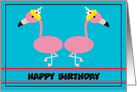 Happy Birthday Flamingo Customizable card
