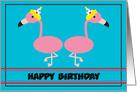 Happy Birthday Flamingo Customizable card