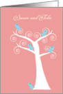 Five Blue Birds in a Tree Customizable Wedding Invitation card
